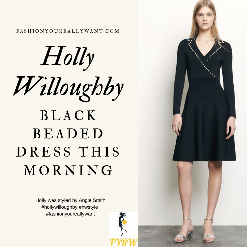 Where to get all Holly Willoughby This Morning outfits blog April 2020 black dress with pearl beads on the collar