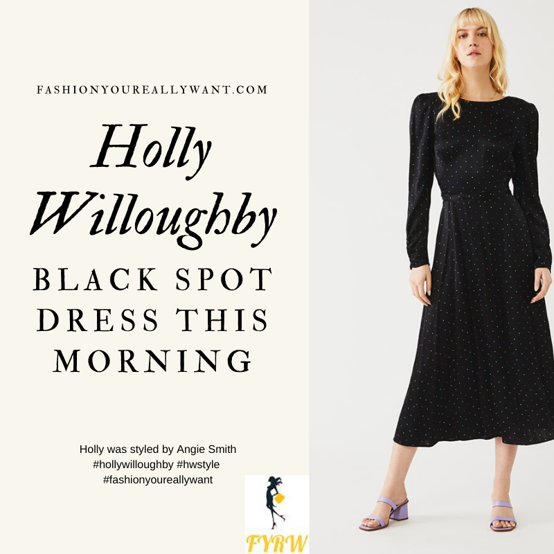 Where to get all Holly Willoughby This Morning outfits blog April 2020 black satin midi dress with multi colour polka dots
