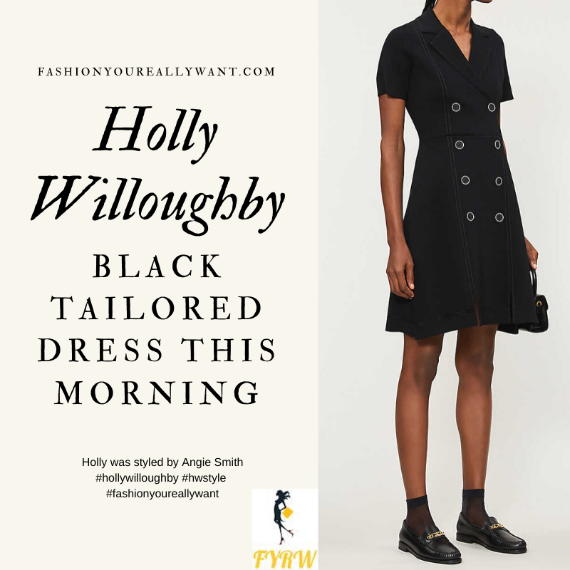 Where to get all Holly Willoughby This Morning outfits blog April 2020 double breasted short sleeve black knitted dress
