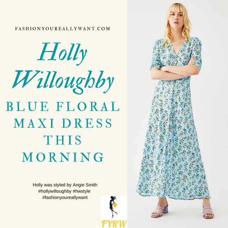 Where to get all Holly Willoughby This Morning outfits blog April 2020 blue floral neck maxi dress ruched sleeves