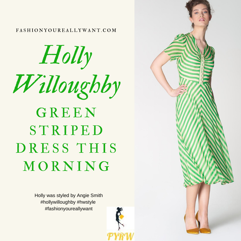 Where to get all Holly Willoughby This Morning outfits blog April 2020 green candy stripe dress