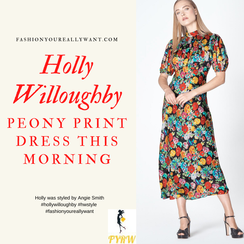 Where to get all Holly Willoughby This Morning outfits blog April 2020 black puff sleeve floral midi dress