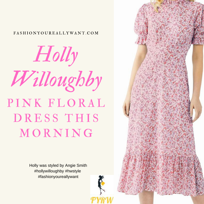 Where to get all Holly Willoughby This Morning outfits blog April 2020 pink floral frilly short sleeve midi dress