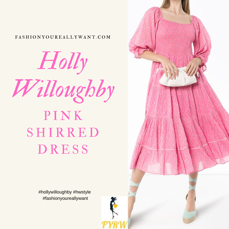 Where to get all Holly Willoughby outfits blog April 2020 LoveShackFancy's pink cotton Rigby floral print dress is ready to make you bloom with confidence as you stride in it's full flared style that flutters witch each step. Plant this beauty into your wardrobe today? Featuring a square neck, ruched details, a tiered design, a mid-calf length, a finished hem and short sleeves.