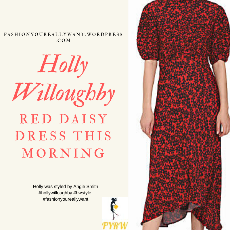 Where to get all Holly Willoughby outfits blog Aprl 2020 red dress with black floral daisy print puff sleeve asymmetric hem