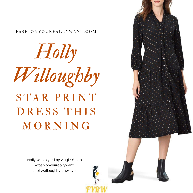 Where to get all Holly Willoughby This Morning outfits blog April 2020 black star print dress tan stars ruffle hem