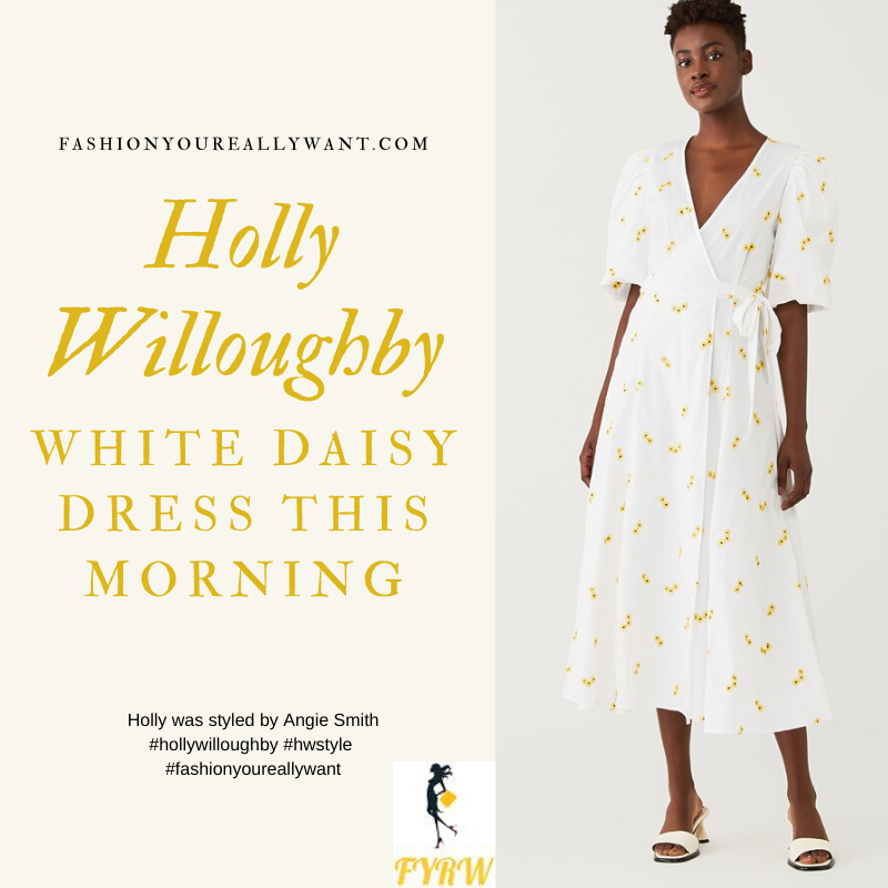 Where to get all Holly Willoughby outfits blog April 2020 white wrap dress with yellow embroidered daisy
