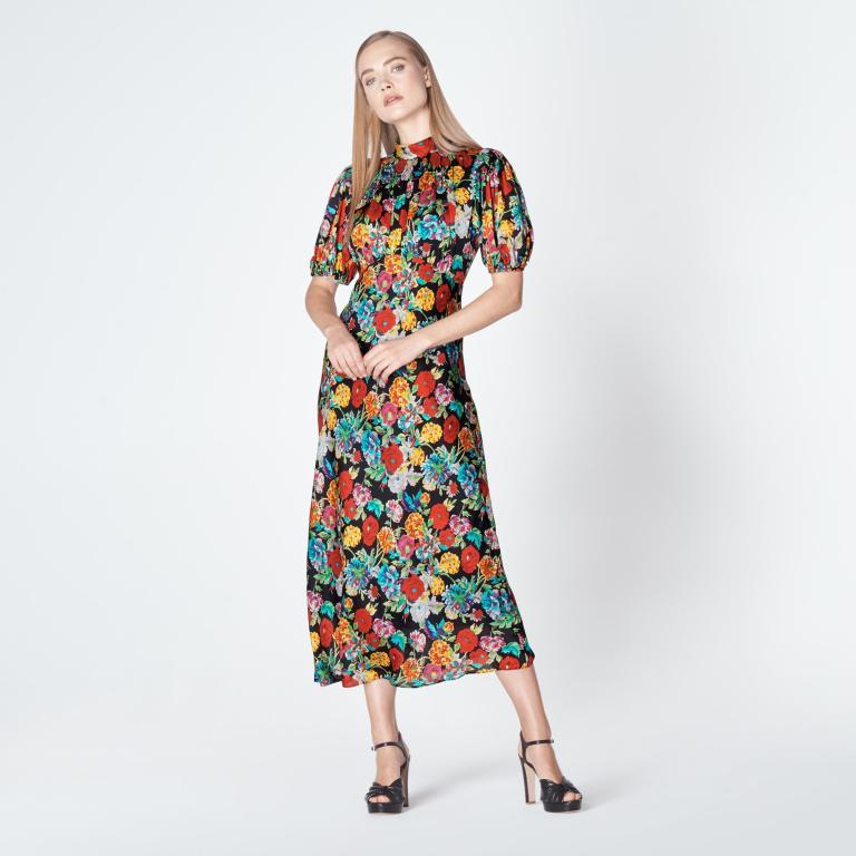 L.K.Bennett Susie Painted Peony Print Silk Dress