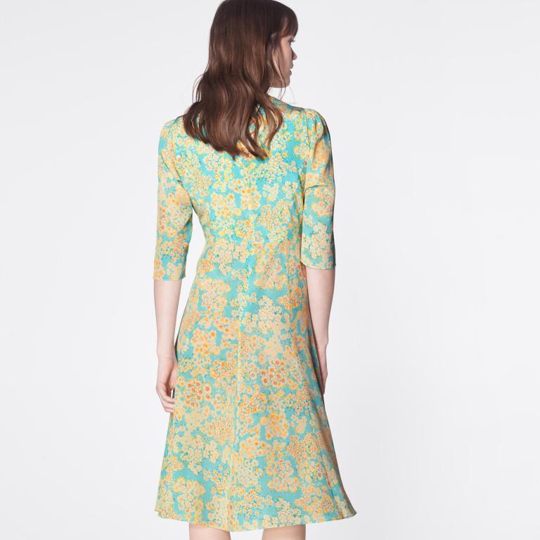 LK Bennett Alicia Impressionist Floral Print Silk Tea Dress back view