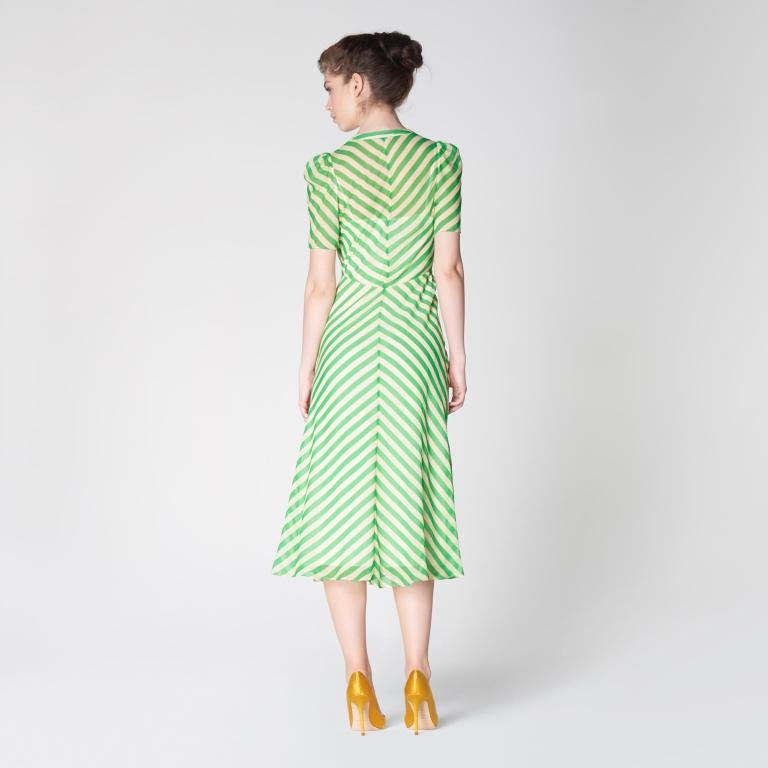 LK Bennett Holzer Green Candy Stripe Silk Midi Dress back view