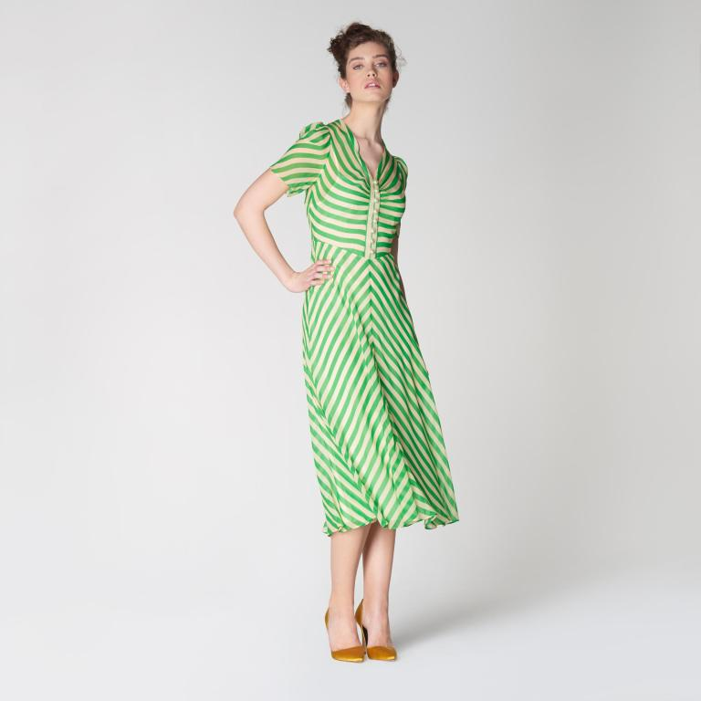 LK Bennett Holzer Green Candy Stripe Silk Midi Dress