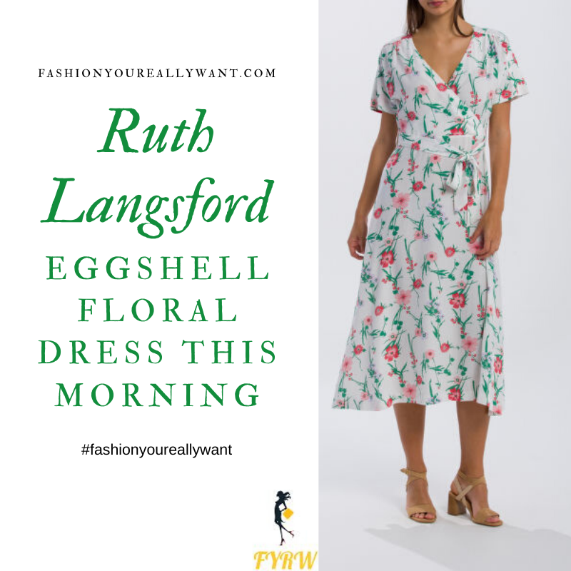Where to get Ruth Langsford This Morning outfits blog April 2020 white off white floral v neck wrap front dress