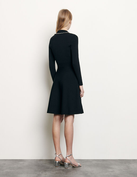 Sandro Short Knit Dress With Tailored Collar back view