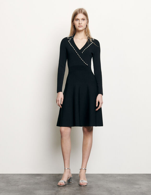 Sandro Short Knit Dress With Tailored Collar