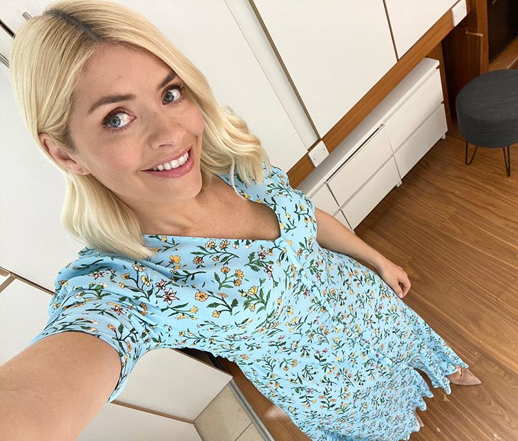 where to get all Holly Willoughby his Morning dresses blue floral v neck maxi dress 24 April 2020 Photo Holly Willoughby