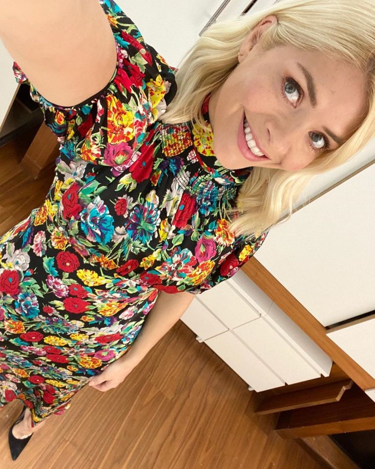 where to get all Holly Willoughby this Morning dresses black floral short sleeve midi dress 8 April 2020 Photo Holly Willoughby