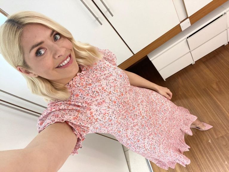 where to get all Holly Willoughby This Morning dresses pink floral midi dress 6 April 2020 Photo holly Willoughby