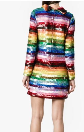 Ashish Rainbow Sequined Mini Dress back view