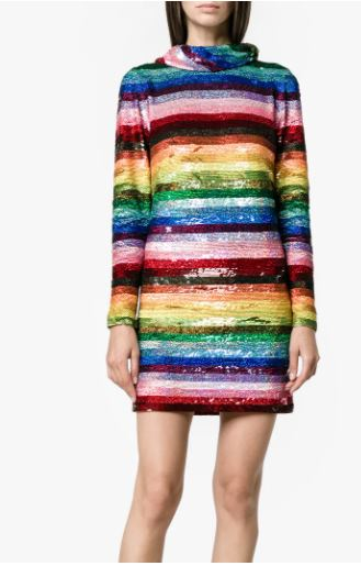 Ashish Rainbow Sequined Mini Dress