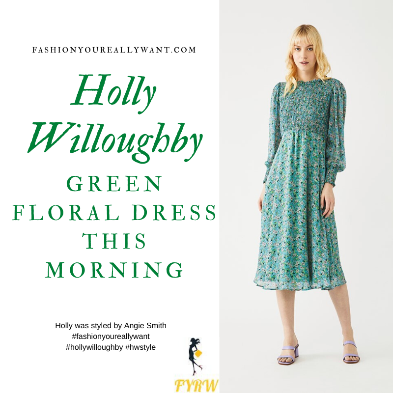 Where to get all Holly Willoughby This Morning outfits blog May 2020 green blue floral long sleeve midi dress shirred bodice