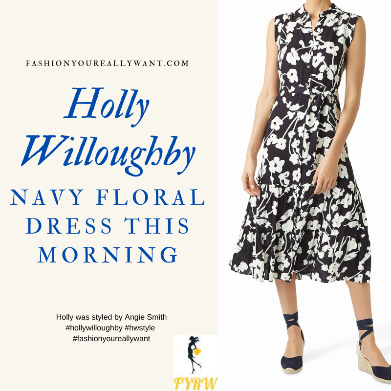 Where to get all Holly Willoughby This Morning outfits blog May 2020 sleeveless navy and white floral shirtdress