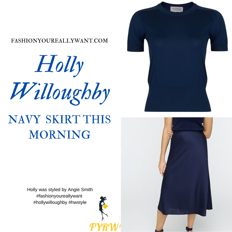 Where to get all Holly Willoughby This Morning outfits blog May 2020 navy a line skirt navy short sleeve jumper