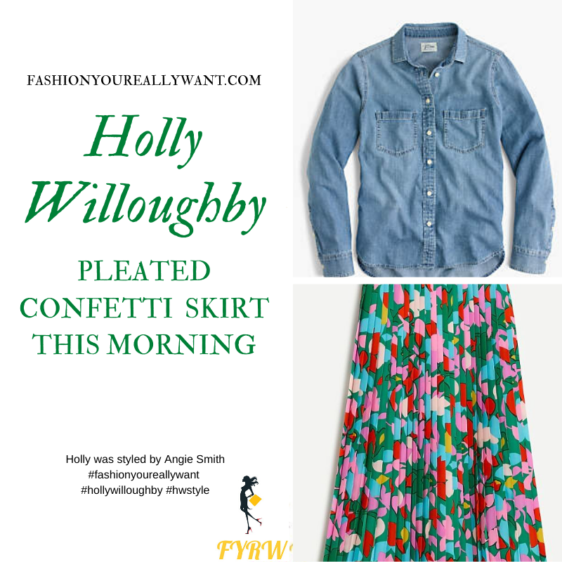 Where to get all Holly Willoughby This Morning outits blog May 2020 blue chambray denm shirt green pink blue yellow pleated skirt