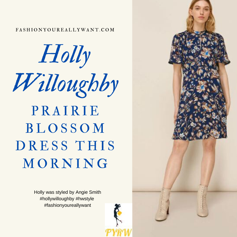 Where to get all Holly Willoughby This Morning outfits blog May 2020 navy floral print dress with short sleeves and keyhole front