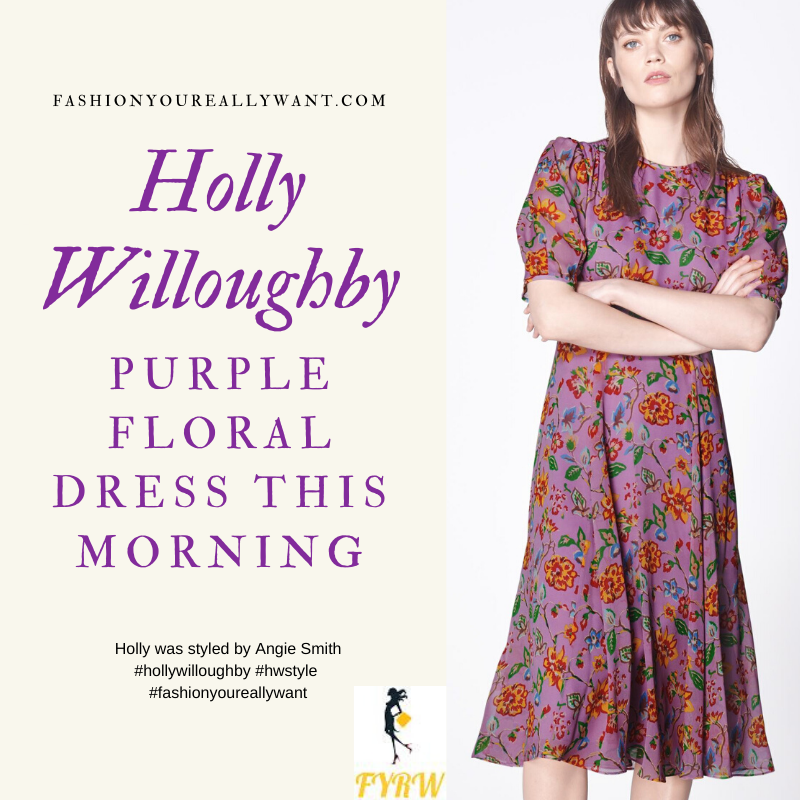 Where to get all Holly Willoughby This Morning outfits blog May 2020 purple floral short sleeve midi tea dress