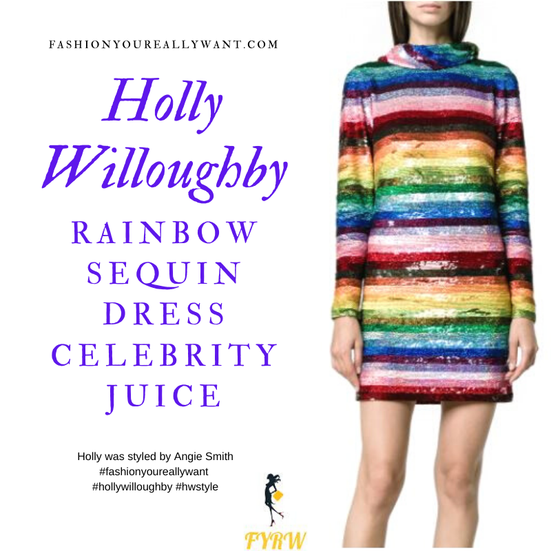 Where to get all Holly Willoughby Celebrity Juice outits blog April 2020 rainboew sequin striped mini dress