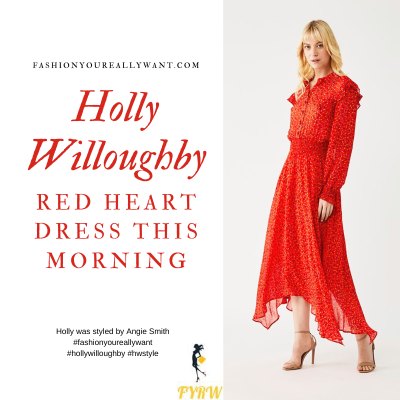 Where to get all Holly Willoughby his Morning outfits blog May 2020 red long sleeve shirt dress with heart print frill shoulder dippy hem