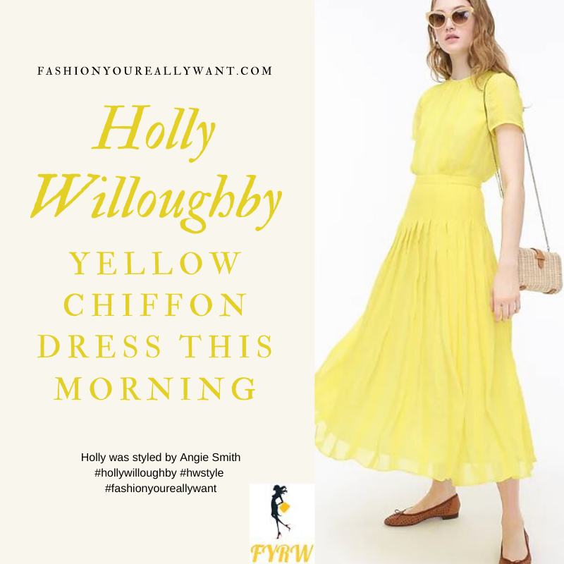 Where to get all Holly Willoughby This Morning outfits blog May 2020 yellow citrus embroidered midi dress pleated skirt