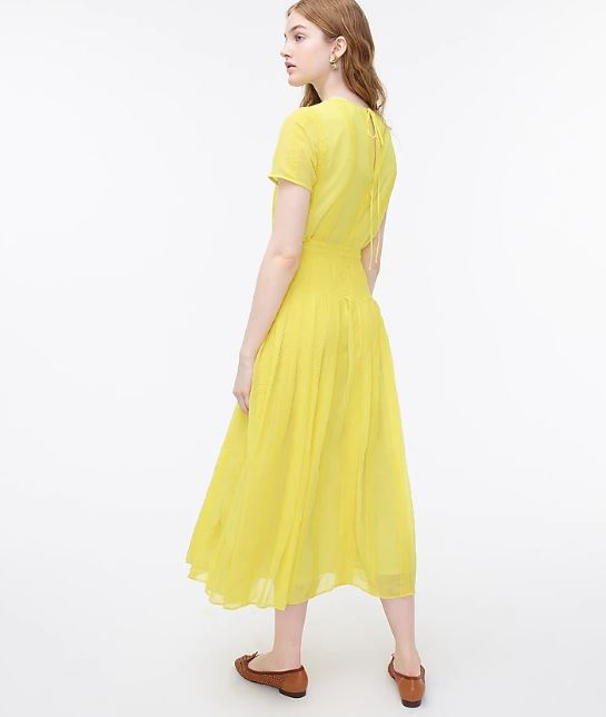 J Crew Midi Dress in Embroidered Chiffon back view