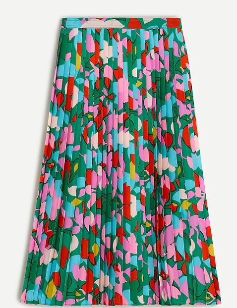 J Crew Pleated Midi Skirt in Confetti Floral
