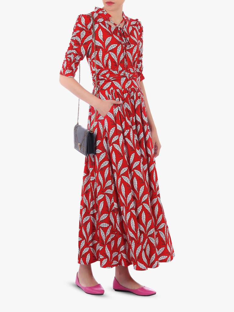 Jolie Moi Feather Print Tie Neck Maxi Dress