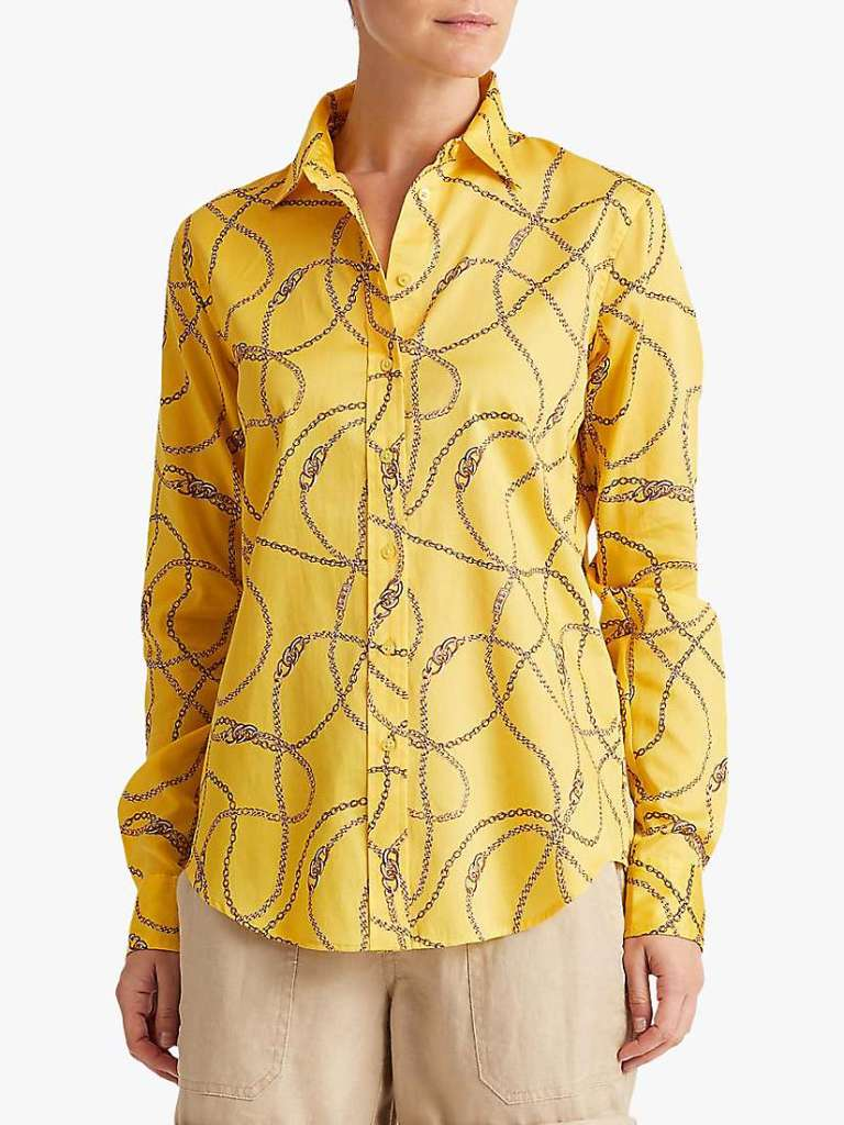 Lauren Ralph Lauren Jamelko Long Sleeve Chain Print Cotton Shirt