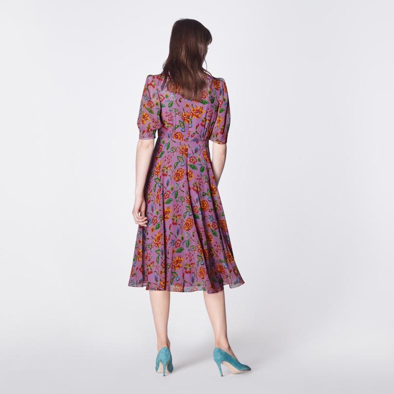 LK Bennett Garland Purple 1940s Floral Print Silk Dress back view