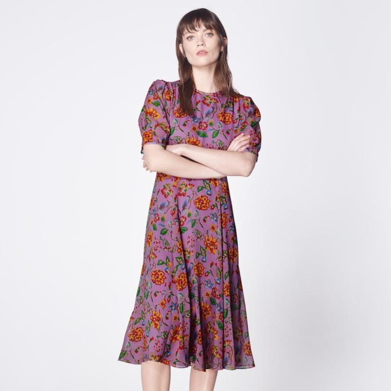 LK Bennett Garland Purple 1940s Floral Print Silk Dress