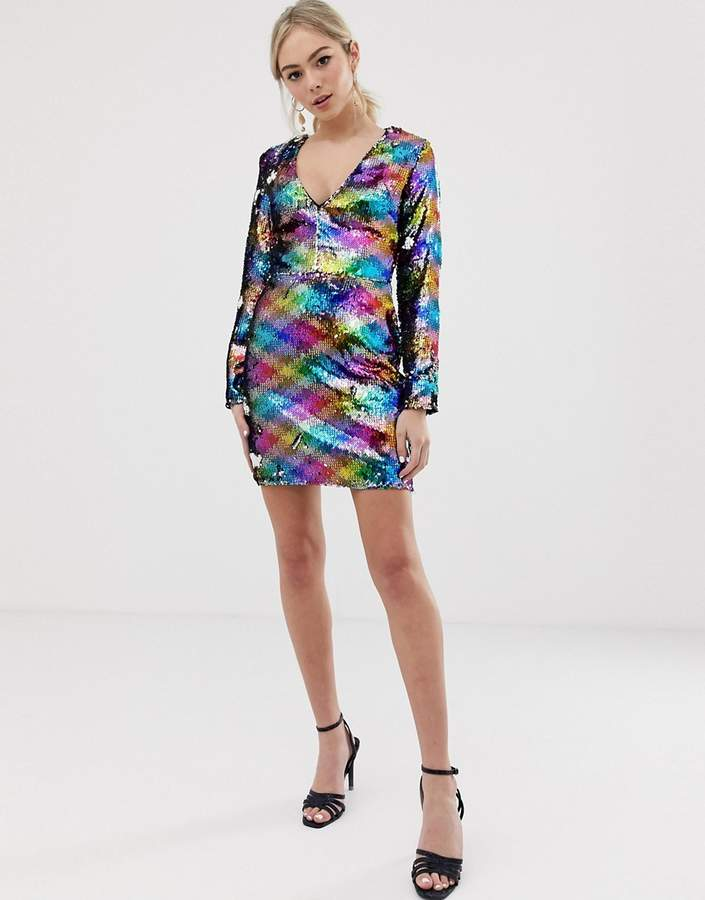 Parisian all over rainbow sequin v-neck dress