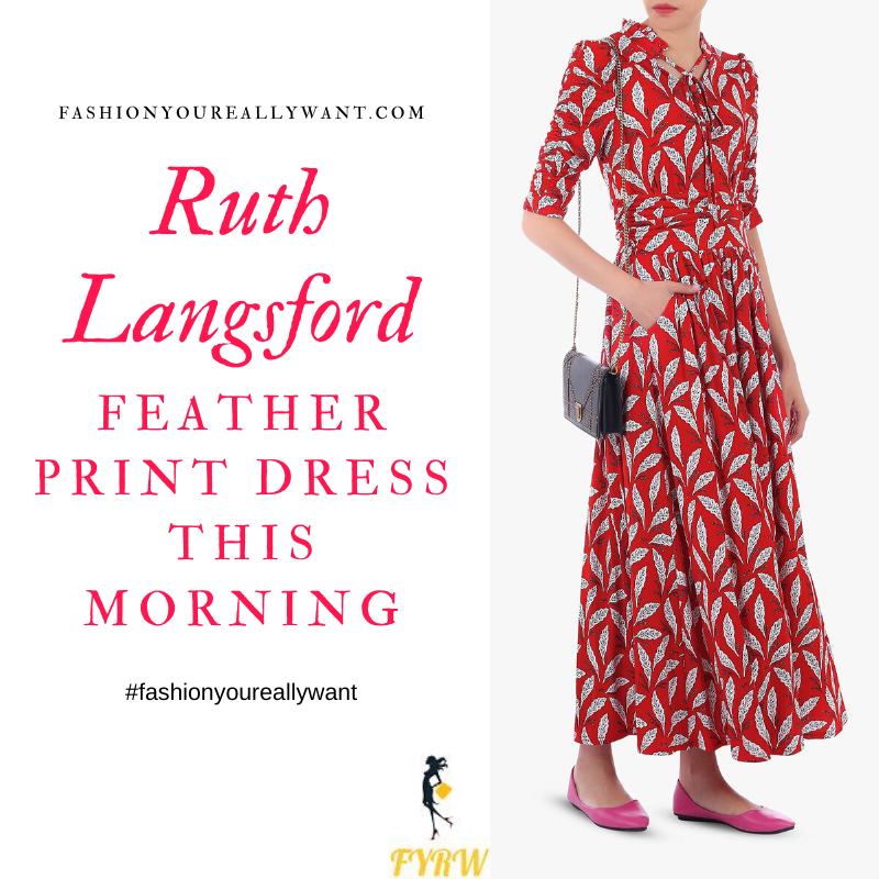 Where to get Ruth Langsford this Morning outfits blog May 2020 red and white feather print maxi dress