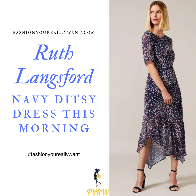 Where to get Ruth Langsford This Morning outfits blog May 2020 blue navy ditsy floral midi dress