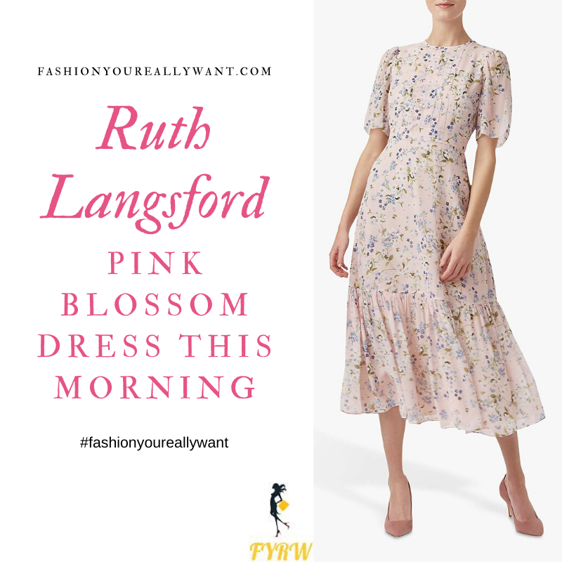 Where to get Ruth Langsford This Morning outfits blog May 2020 pink blossom floral midi dress short sleeves pleated bodice peplum hem