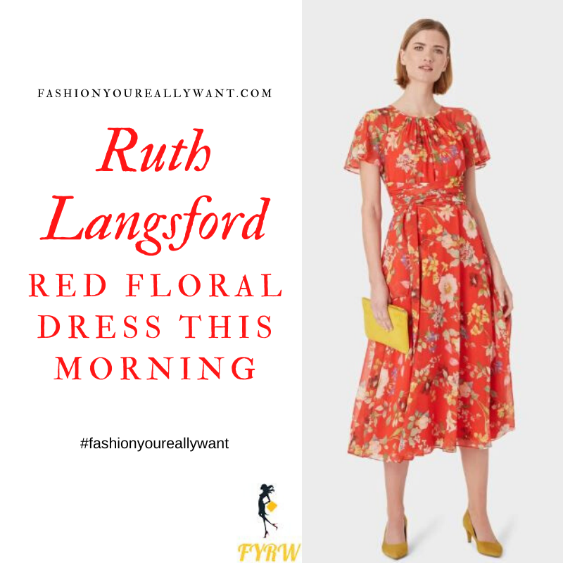 Where to get Ruth Langsford This Morning outfit blog May 2020 red floral midi dress angel sleeve