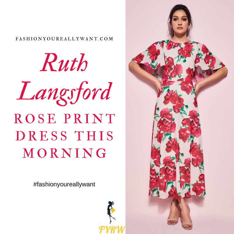 Where to get Ruth Langsford This Morning outfits blog May 2020 off white angel sleeve ress with red roses