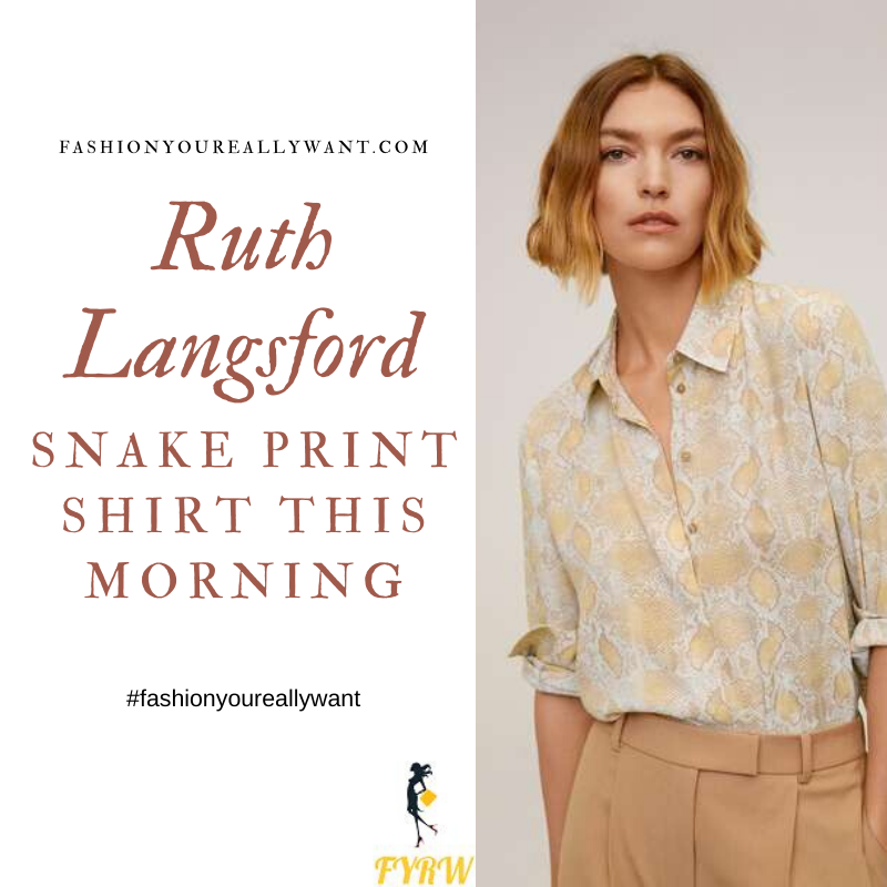 Where to get Ruth Langsford This Morning outfits blog May 2020 white yellow beige snake print shirt blouse