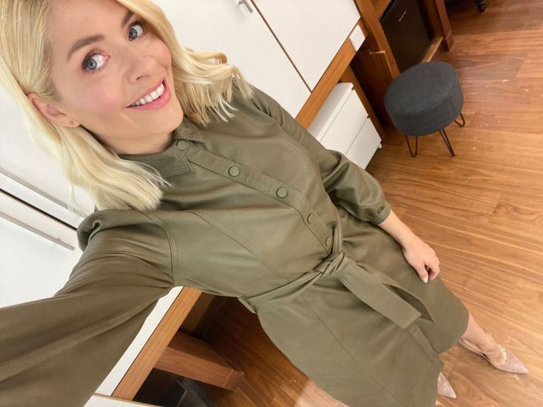 where to get all Holly Willoughby This Morning dresses khaki leather shirt dress 11 May 2020 Photo Holly Willoughby