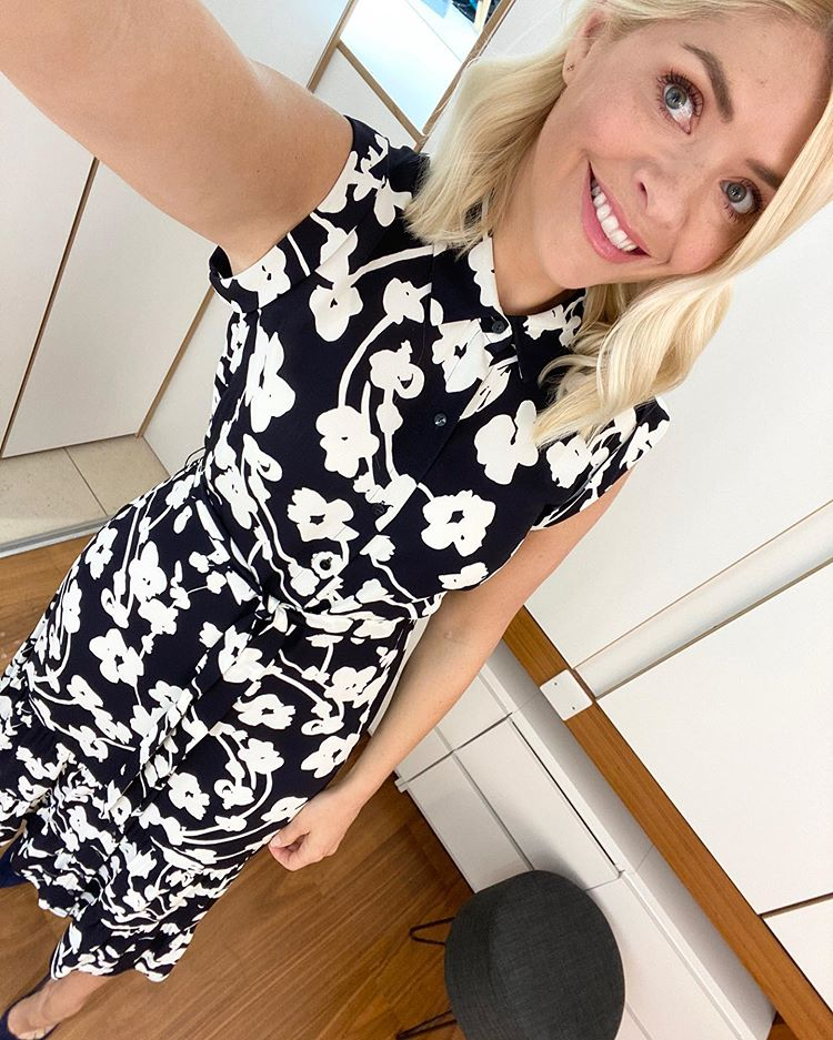 where to get all Holly Willoughby This Morning dresses navy and white floral midi dress 6 May 2020 Photo Holly Willoughby