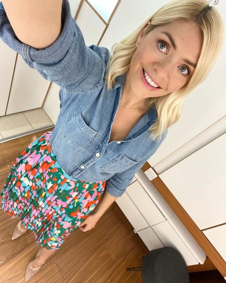 where to get all Holly Willoughby this Morning outfits blue denim shirt pleated multi colour skirt 18 May 2020 Photo Holly Willoughby