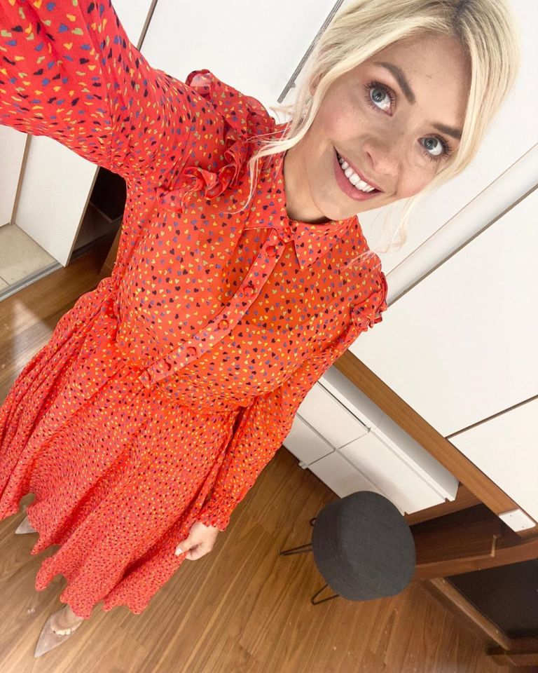 where to get all Holly Willoughby This Morning outfits red shirt dress with small coloured heart 12 May 2020 Photo Holly willoughby