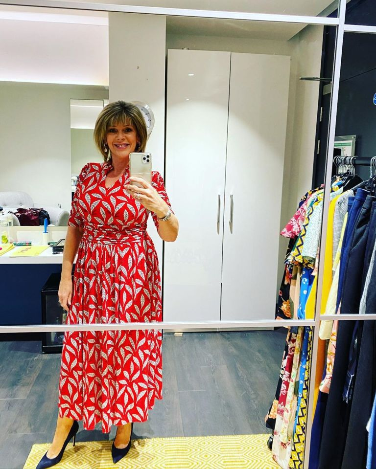 where to get ruth Langsford red and white feather print dress This Morning 8 May 2020 Photo Ruth Langsford